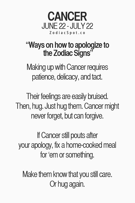 Ways To Apologize To Cancer Zodiac Sign