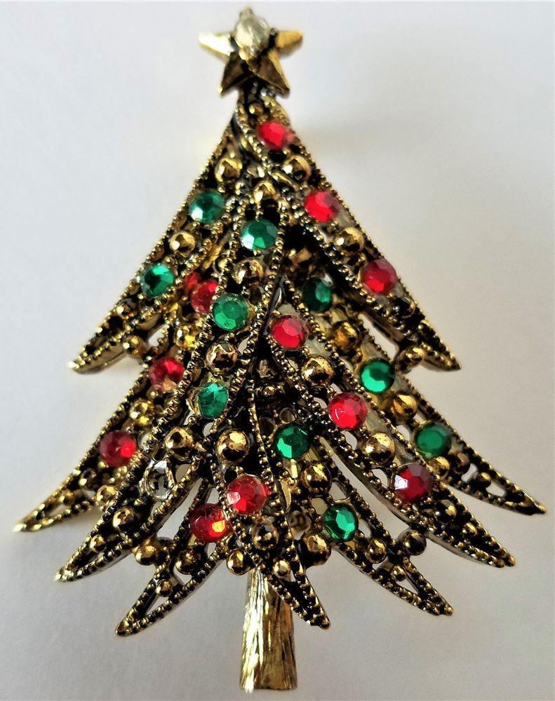Vintage Hollycraft Christmas Tree Pin Brooch Rhinestones Gold tone ...