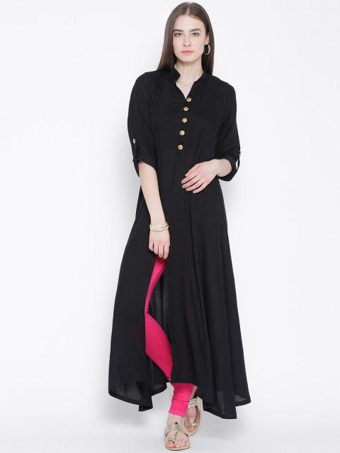 Buy Aujjessa Black Front Slit A Line Kurta - Kurtas for Women | Myntra