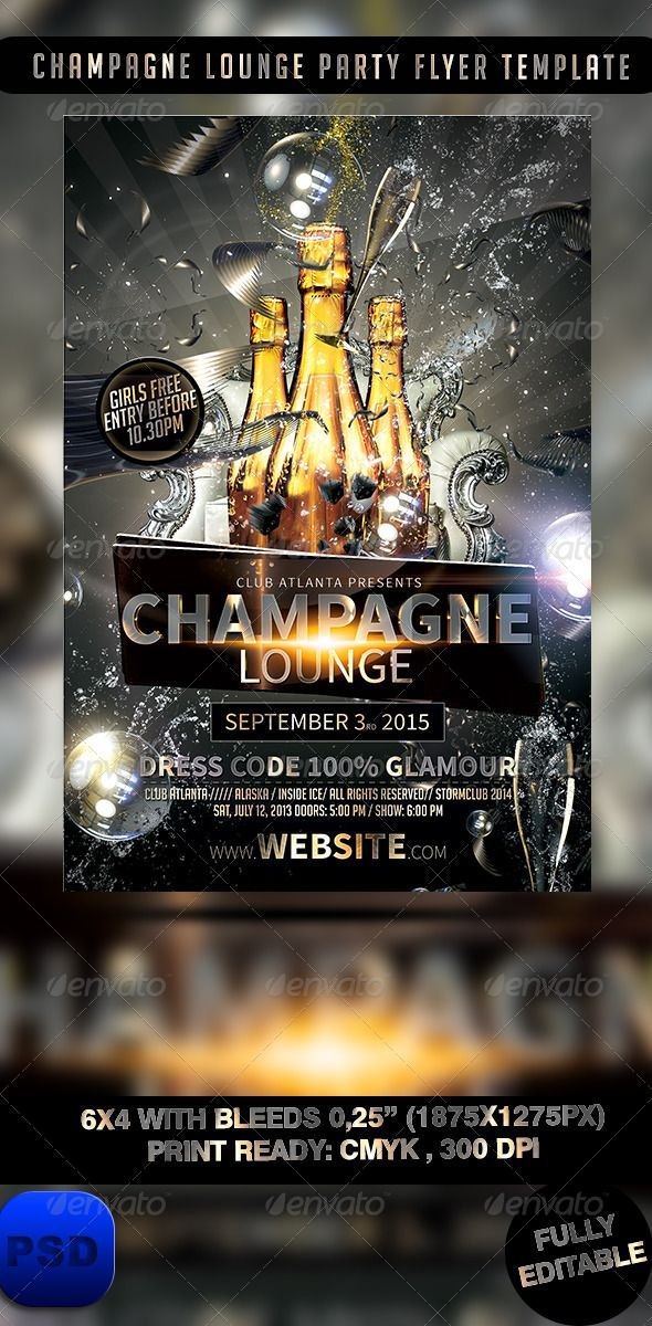 Champagne Lounge Party Flyer Template Lounge Party