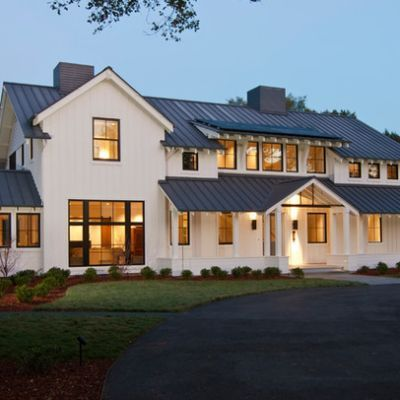 Farm Style Houses With White Vertical Siding And Stone On Exterior