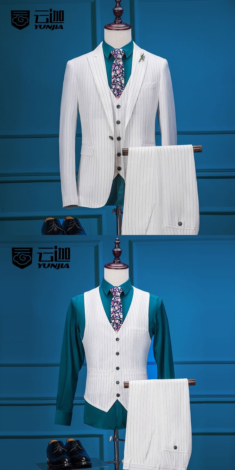 2017 Latest Coat Pant Designs White Stripes Men Suit Terno Slim Fit ...