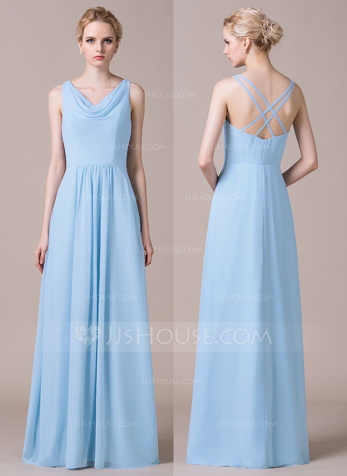 3a56e75a2223 A-Line/Princess Cowl Neck Floor-Length Ruffle Crossed Straps Zipper Up at  Side Spaghetti Straps Sleeveless No Sky Blue Spring Summer Fall General  Plus ...