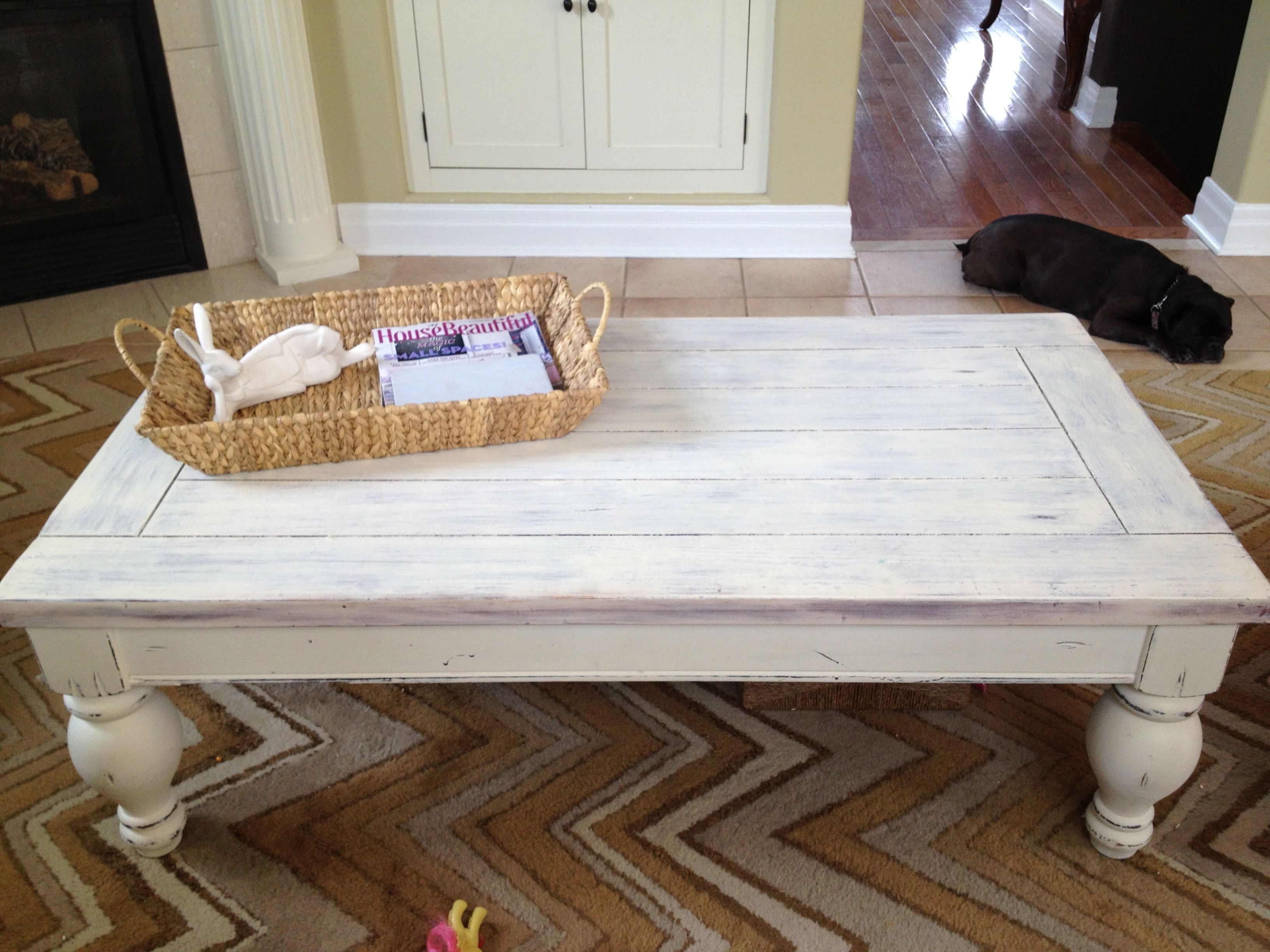 Beautiful White Washed Coffee Table