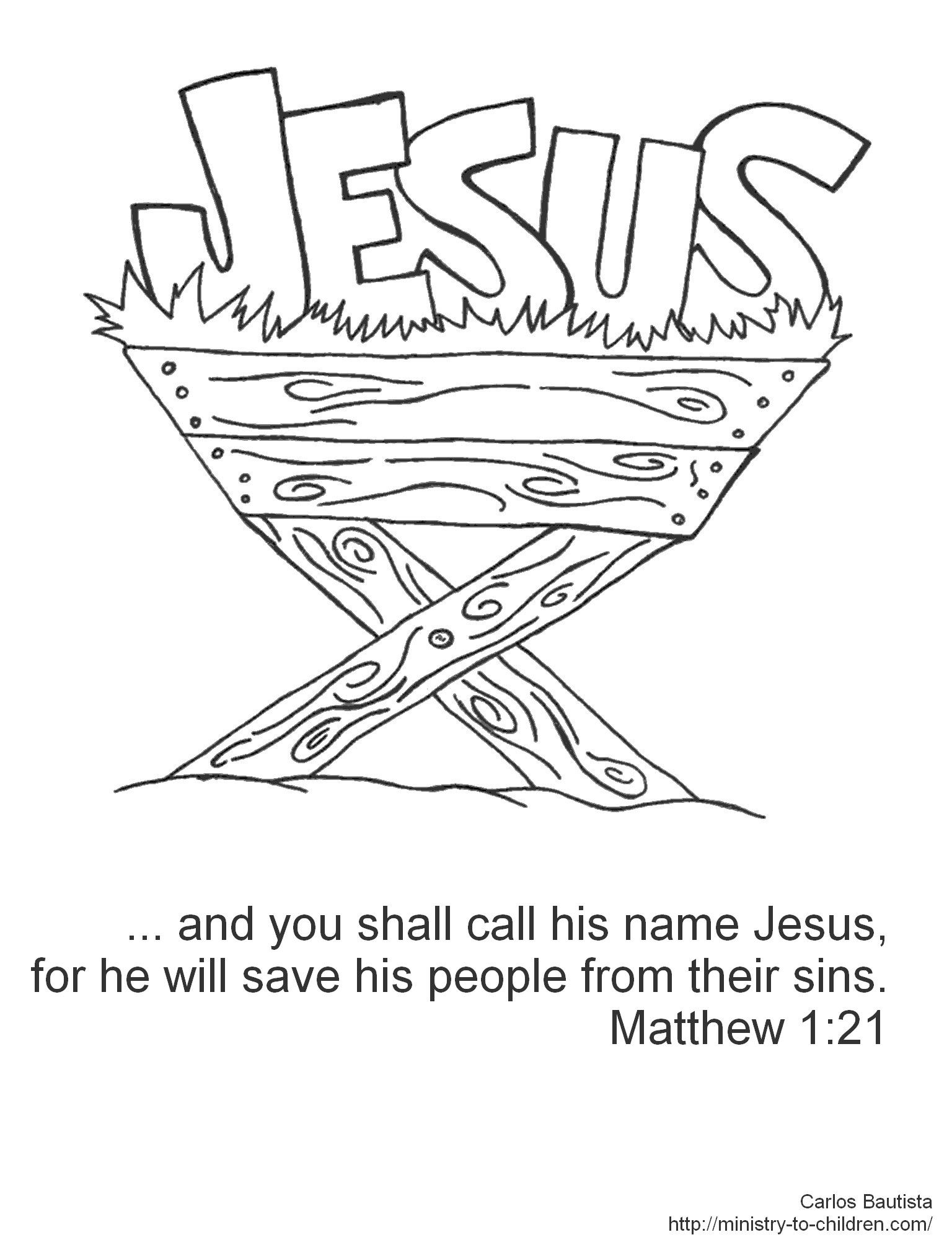 call his name jesus (manger coloring page) | christmas | bible verse