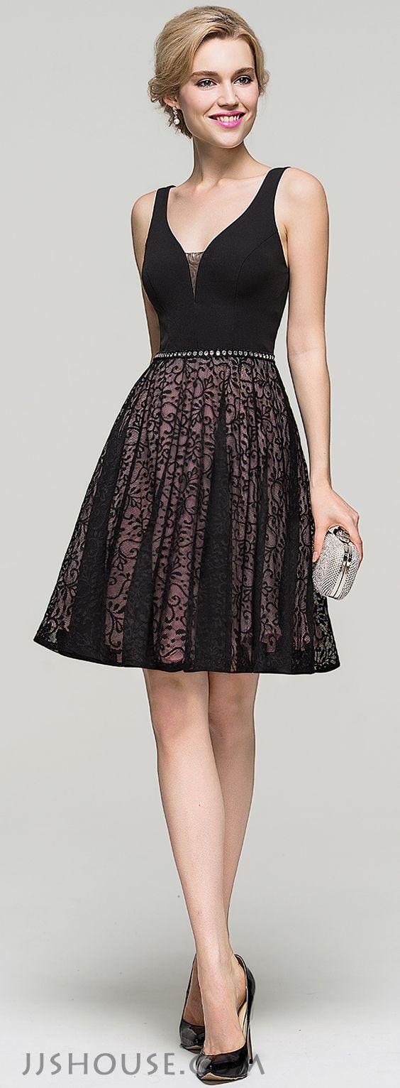 A-Line/Princess V-neck Knee-Length Lace Homecoming Dress With ...