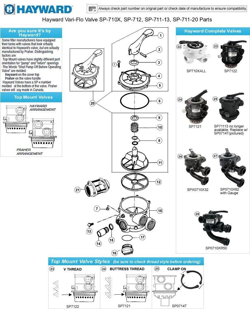 Hayward variflo valve parts sp0710x 711 712 flo