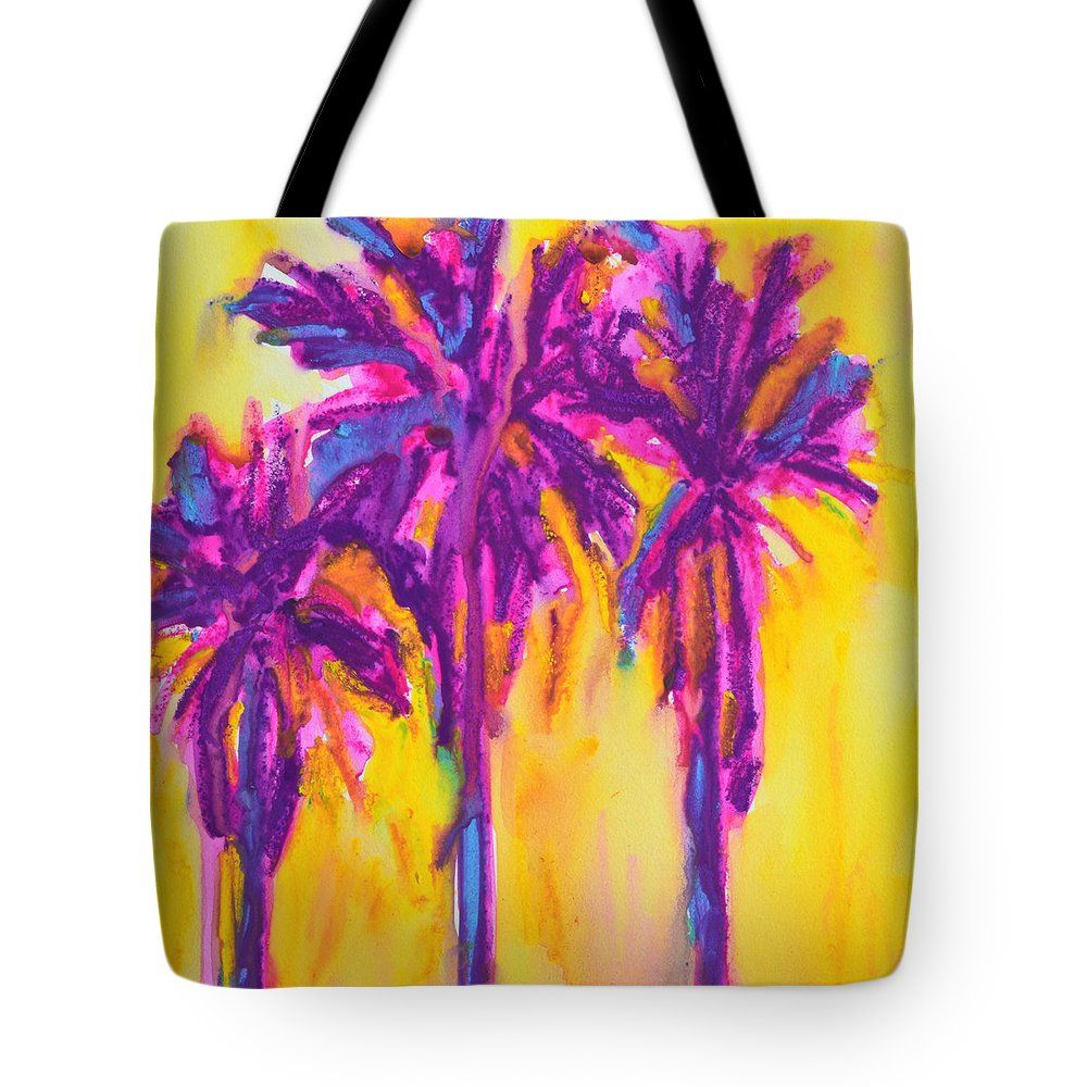 Magenta Palm Trees Tote Bag Customize the look of your Tote Bag. Available sizes in inches: 13 x 13, 16 x 16 & 18 x 18.  #artinfashion #totebag #fashion #magentayellow