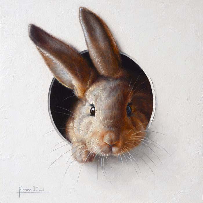 Au pays des lapins peintures de marina dieul trompe l 39 oeil pinterest lapin le lapin et - Patte de lapin peinture ...