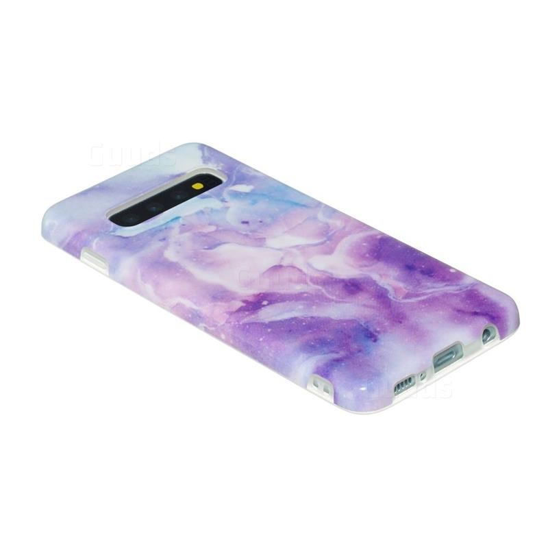 Dream Purple Marble Clear Bumper Glossy Rubber Silicone Phone Case