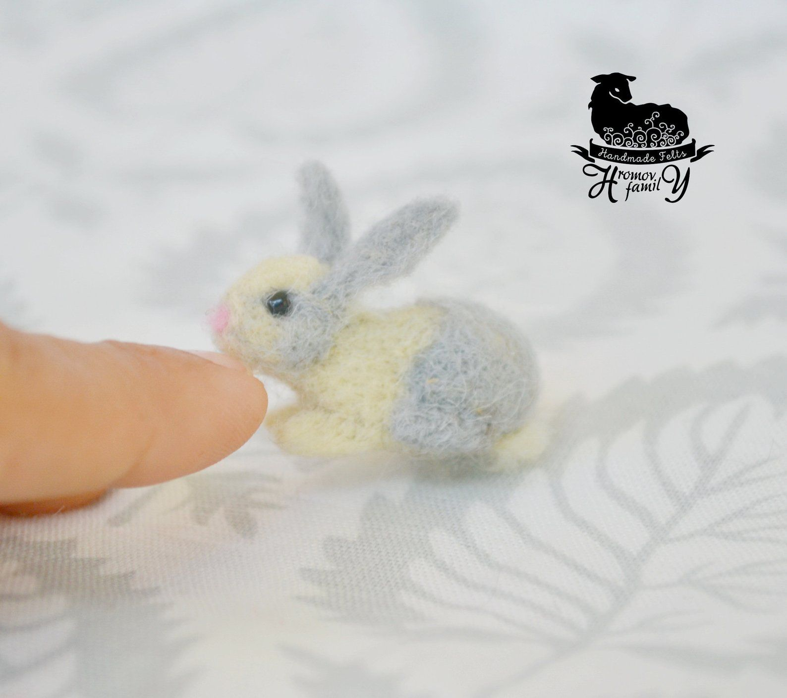 Winzige Grаy Bunny, nadelgefilzt kleine Haustier, Rabit