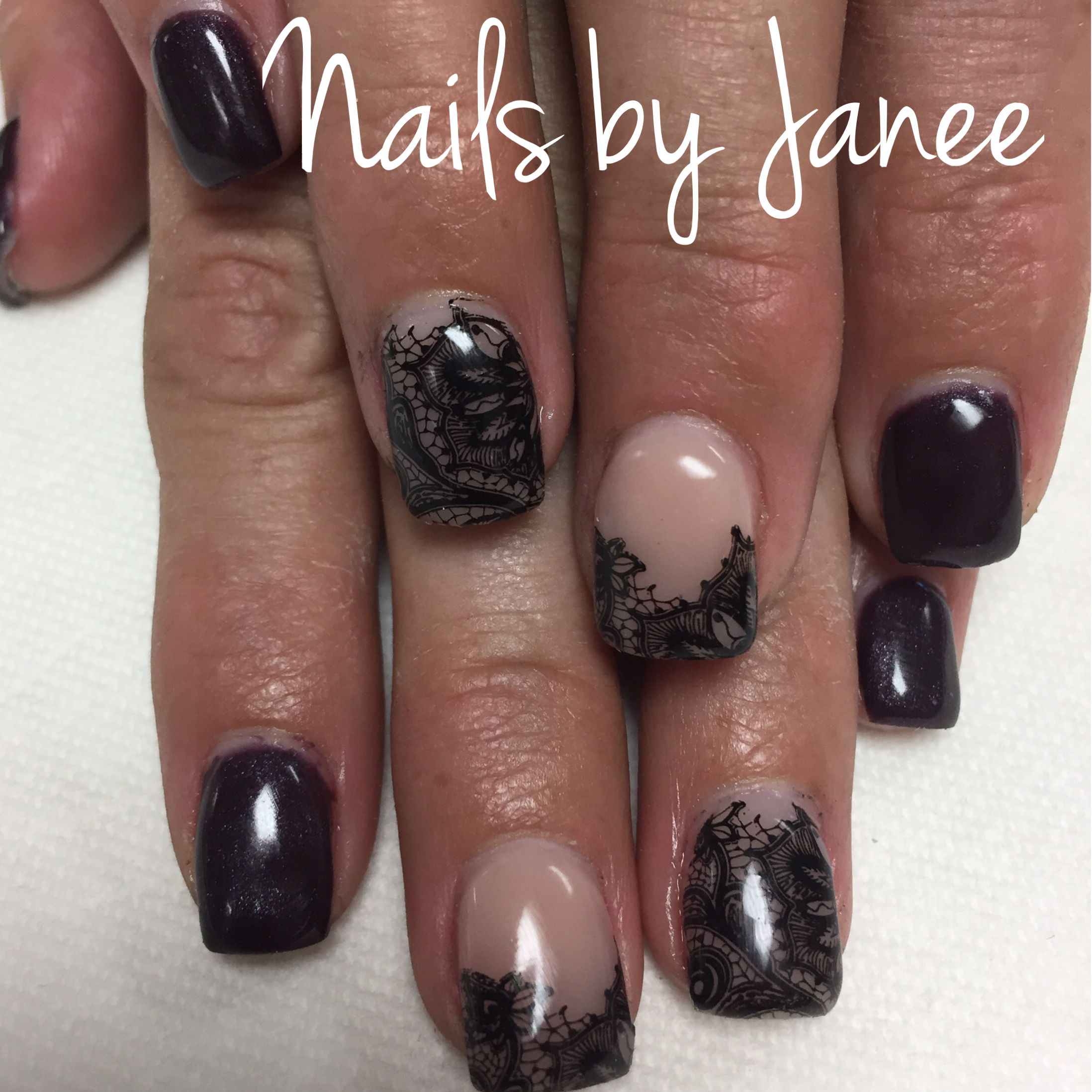 Manicure Manifesto: Black and Nude Lace Nail Stamping