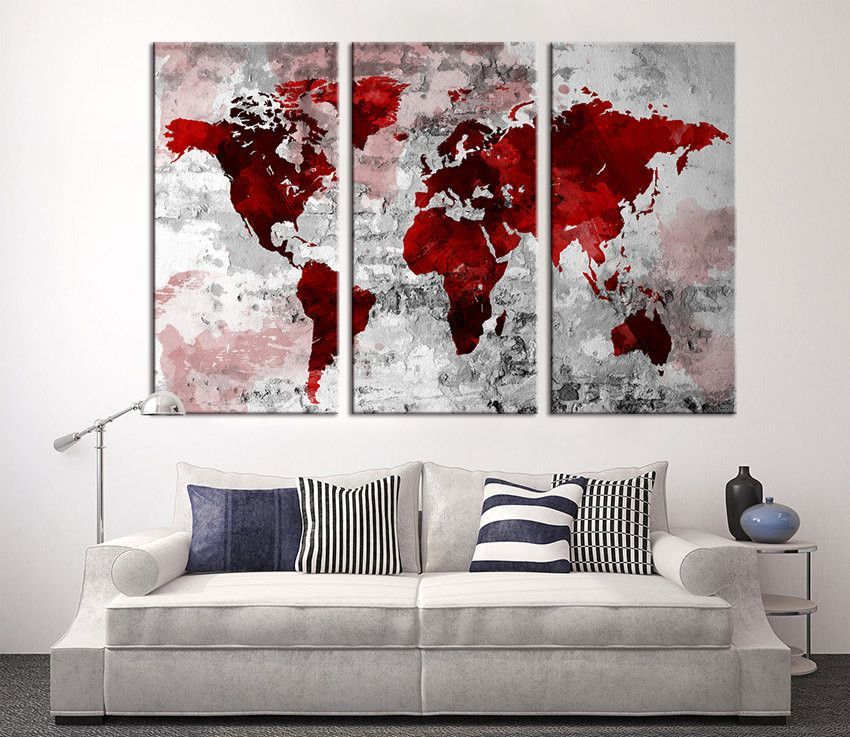 Large wall art world map canvas print red world map wall art large wall art world map canvas print red world map wall art extra gumiabroncs Images