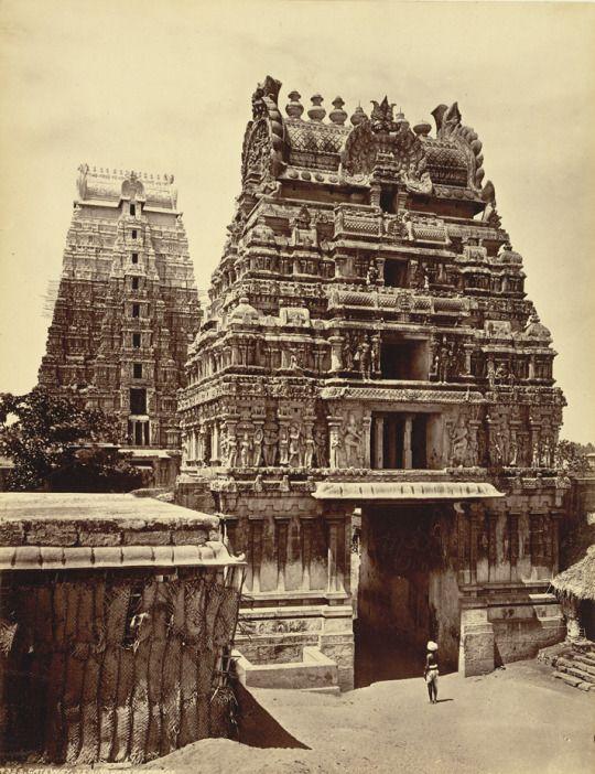 Sri Ranganathaswamy Temple 1880s     Srirangam, Tiruchirappalli, Tamil Nadu, India.      Photograph of the gopurams of the Ranganatha temple at Srirangam, taken by an unknown photographer in the 1880s, from an album of 62 views of India and Ceylon. The Ranganatha temple is a Vaishnava complex situated on the artificial island of Srirangam in the Cauvery River near Tiruchirapalli.     (via Blog on vishnu temples)