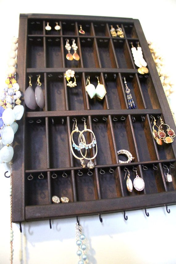 Small Antique Printer Drawer reinvented to hold your earrings and more! This listing is for a DARK WOOD TONE drawer made to hold a variety of