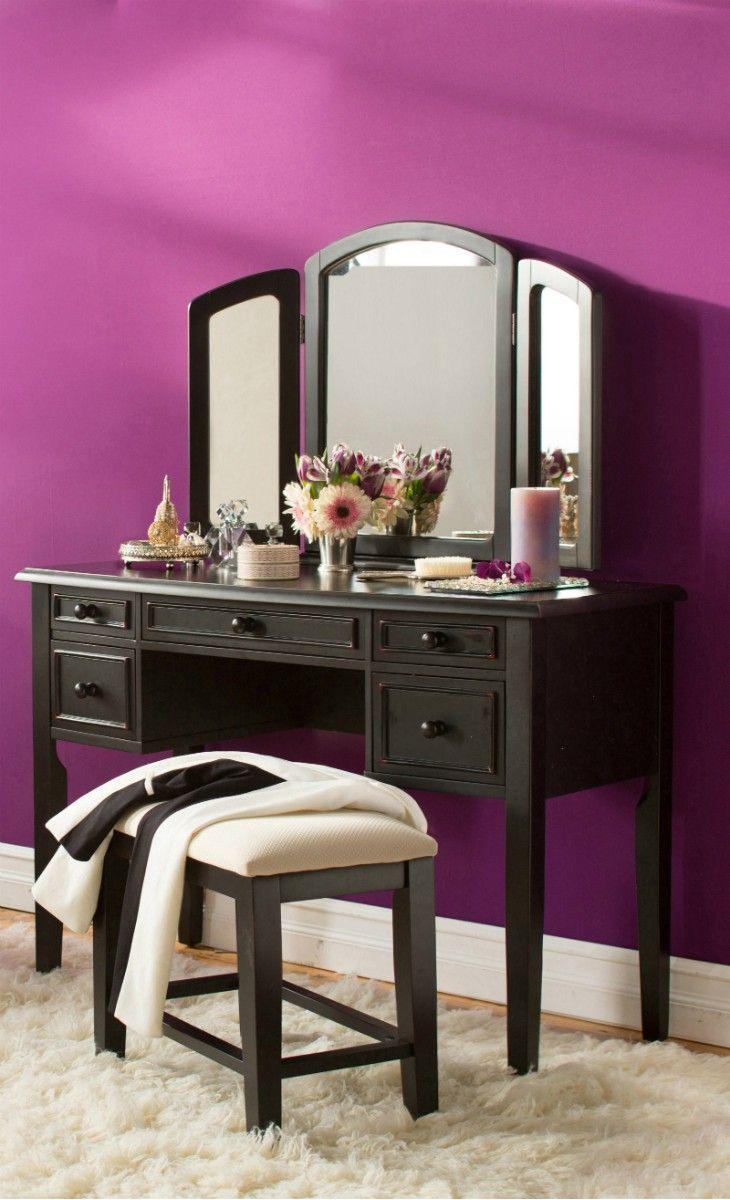 Purple statement wall the pad pinterest vanities black vanity