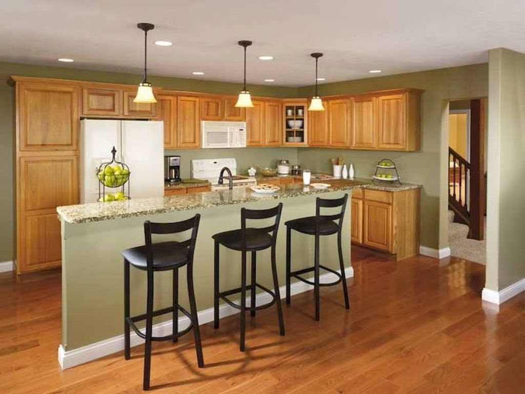 90 Stunning Oak Kitchen Cabinets Ideas Decoration For Farmhouse Style Crompton News Green Kitchen Walls Hickory Kitchen Cabinets Kitchen Wall Colors Kitchen colors with light wood cabinets