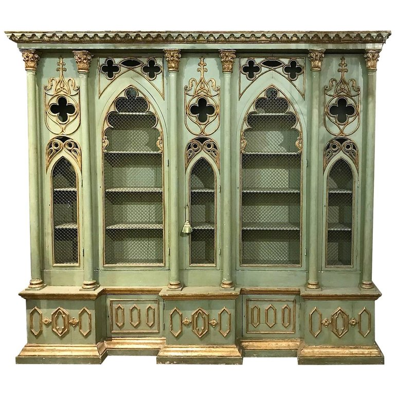 Antique Italian Gothic Revival Cabinet Bookcase Painting Wooden Furniture Furniture White Furniture Living Room