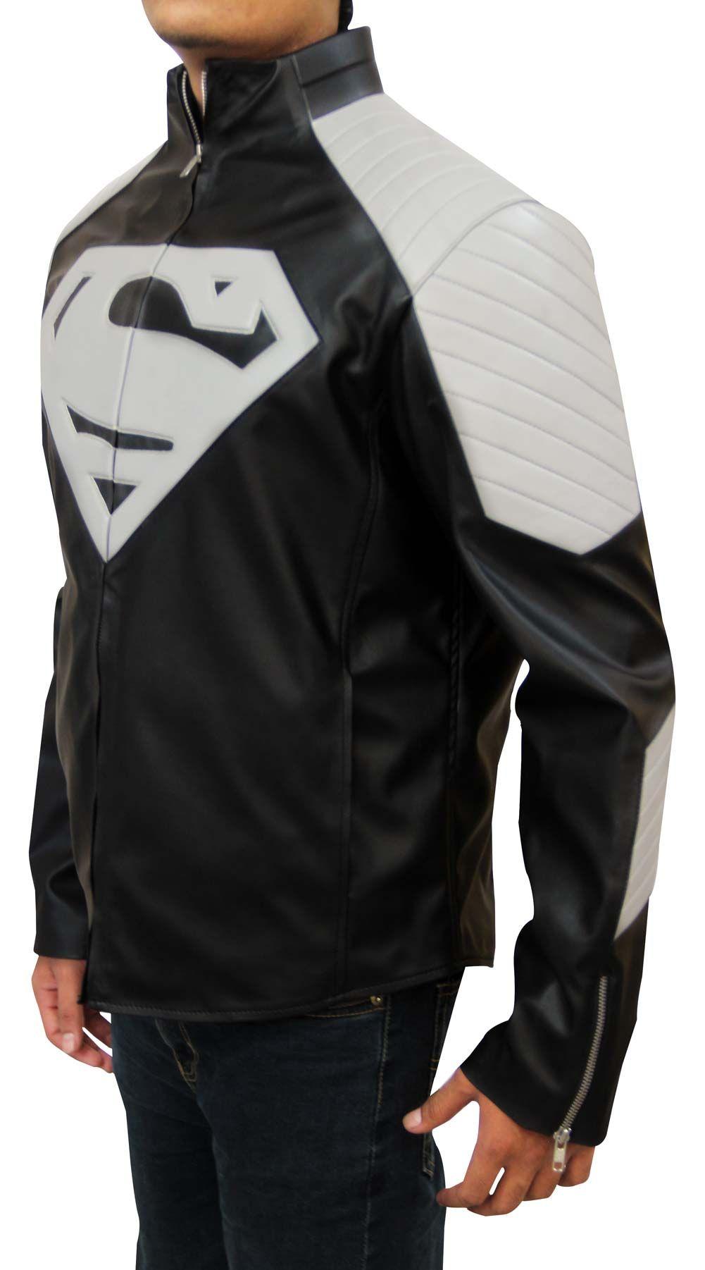 SUPERMAN uomo di acciaio SMALLVILLE NERO LEATHER JACKET Costume