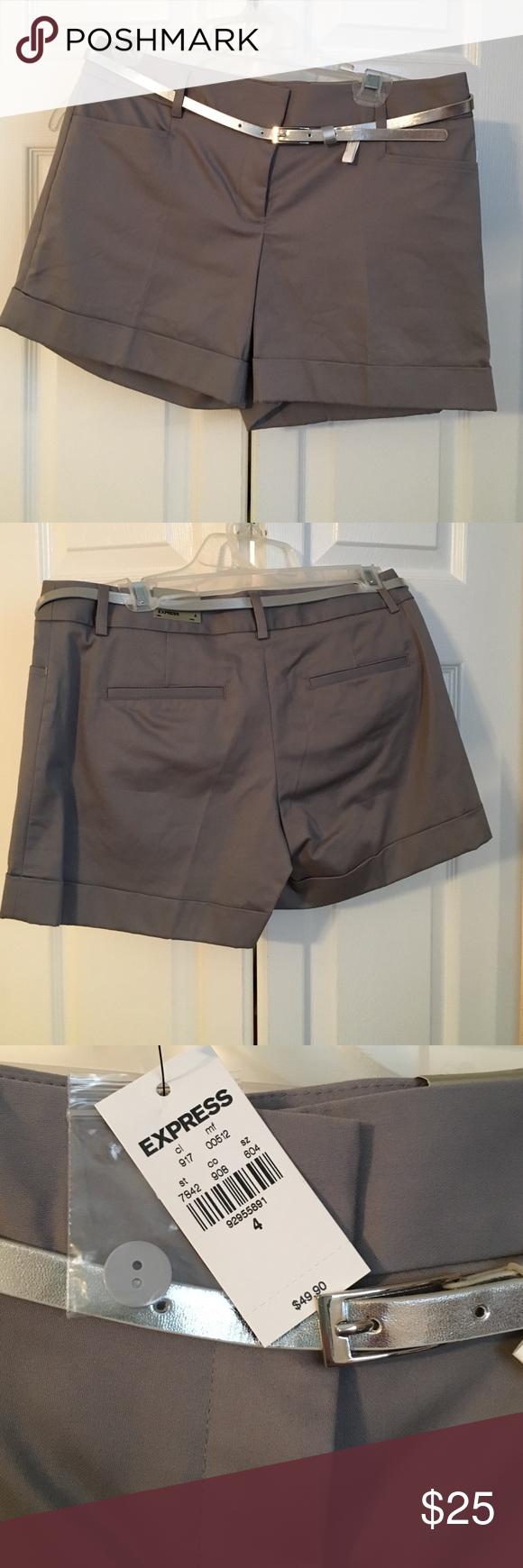 Express Editor Shorts NEVER BEEN WORN!!! Grey shorts with belt. Express Shorts