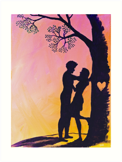 The Heart Tree by justafriend - Cute romantic couple silhouette – Valentine's Day, wedding, anniversary