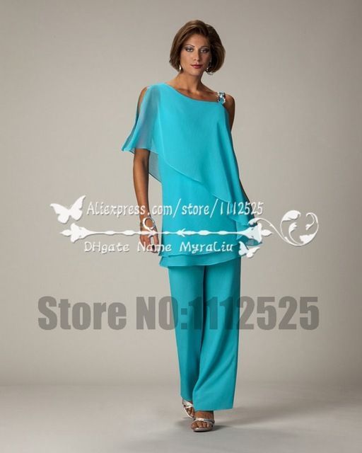 Amp1038 2017 Summer Plus Size Chiffon Mother Of The Bride Pants Suit For Beach Wedding Party