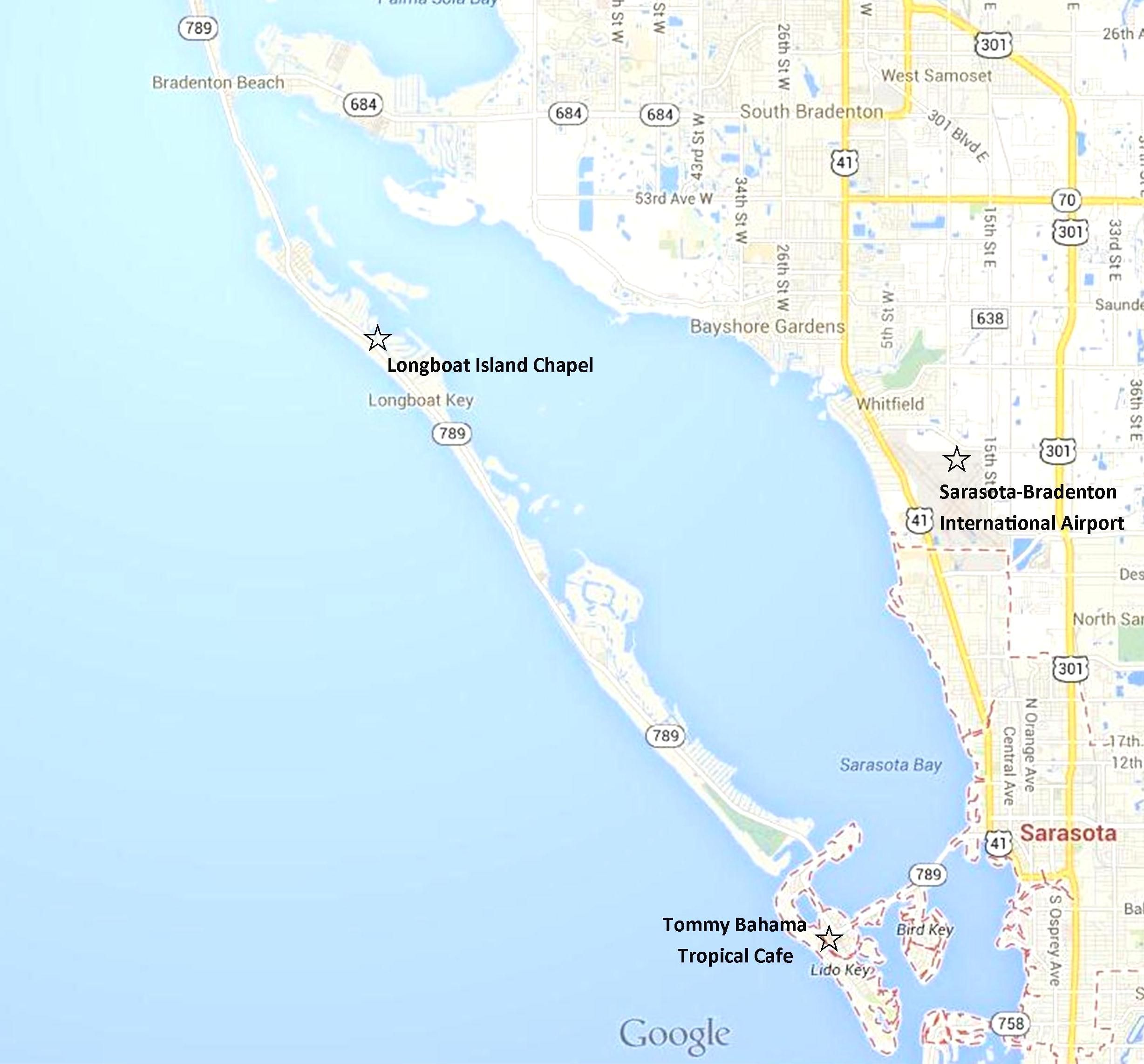 Google Map Sarasota Lido Key Longboat And Anna Maria Island Bradenton Beach