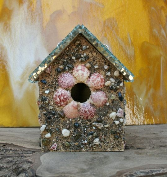Beach Birdhouse with Pink and Purple Sea Shells and Recycled Glass Roof