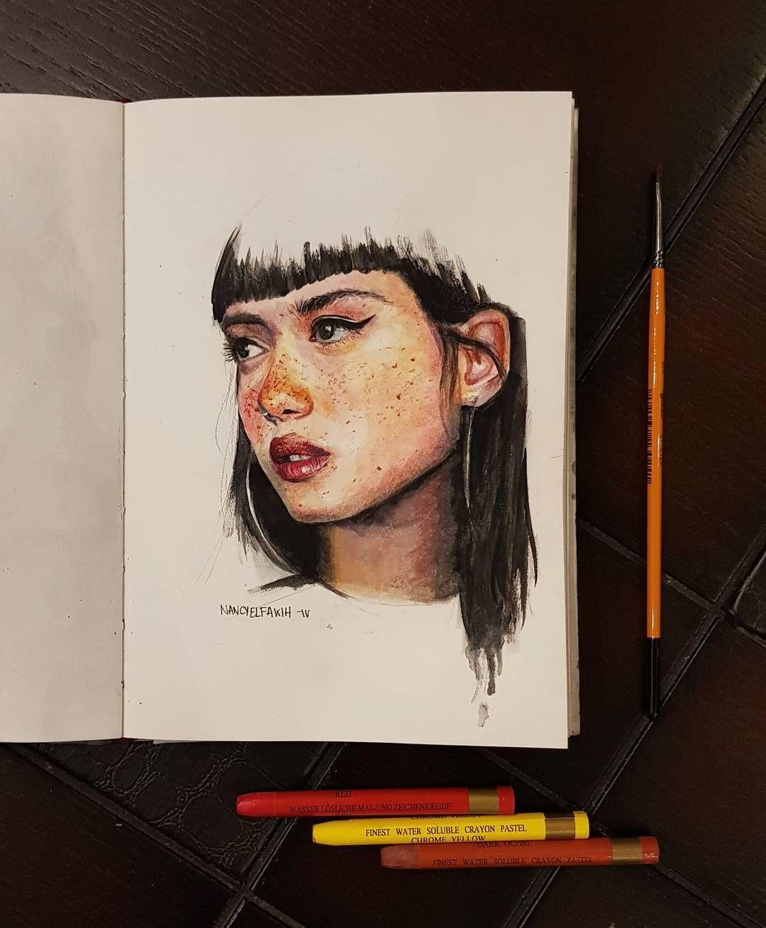 Watercolor Pastel Sketchbook Illustration Portrait