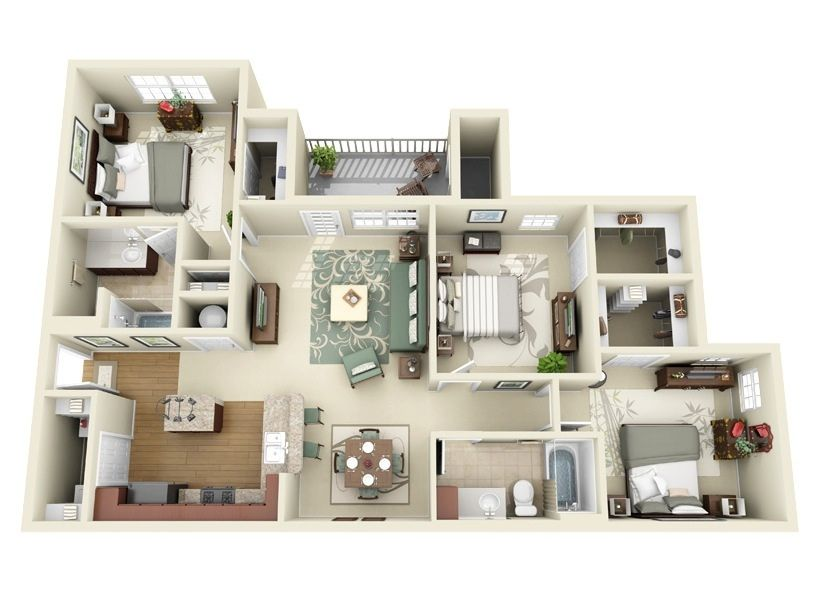 50 Three 3 Bedroom Apartment House Plans Architecture Design House Plans 3d House Plans Apartment Floor Plans
