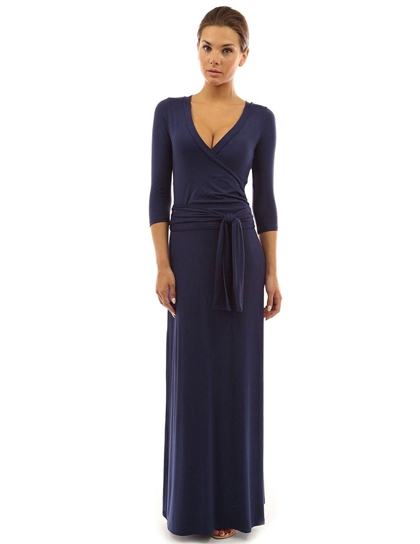070df1718da Women s 3 4 Sleeve Faux Wrap Maxi Dress - Navy Blue - CJ11ZD6RIUN in ...
