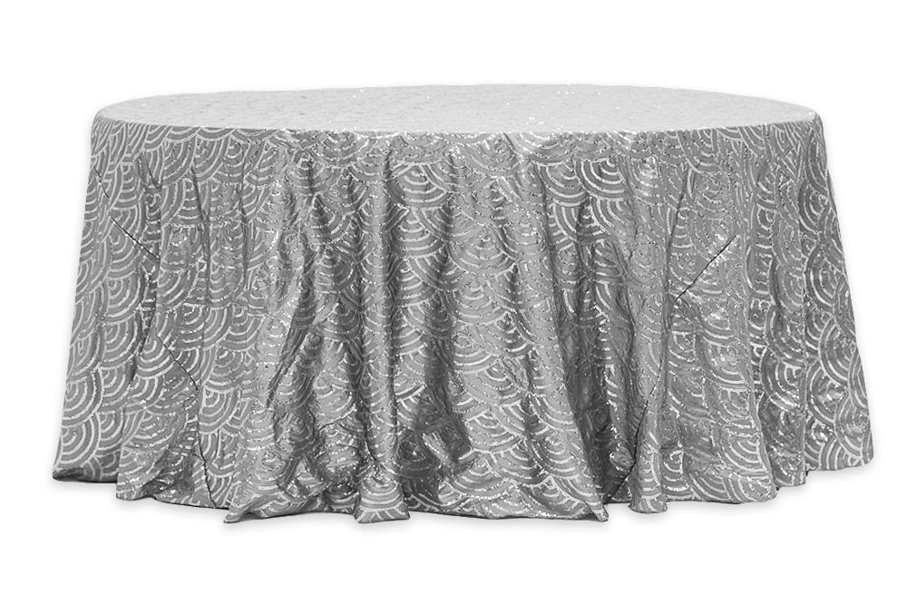 Mermaid Scale Sequin 132 Round Tablecloth Silver Round