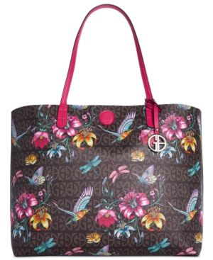 Giani Bernini Floral Signature Oversized Tote, Only at Macy's - Brown