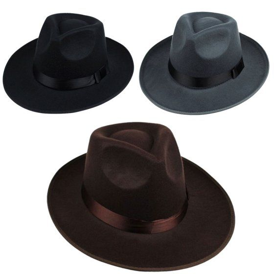Vintage Cool Wide Brim Fedora Hats for Men (Grey) - Walmart.com ... 4ec5e9b5049