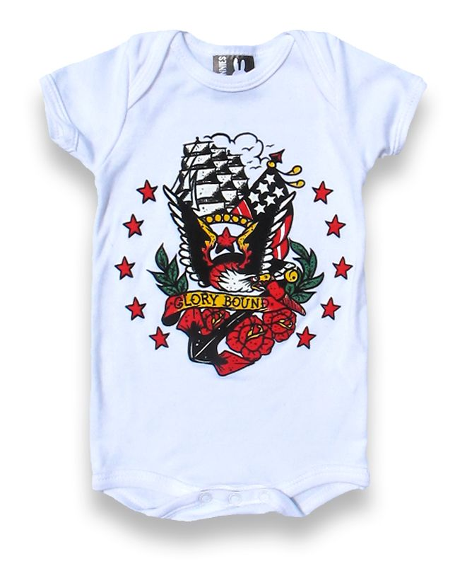 Gorgeous tattoo style printed onesie. Grab one here -} http://bumpandbunny.com/collections/six-bunnies/products/glorybound-onesie