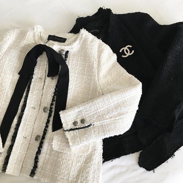 30587791 Zara tweed jacket chanel brooch black white | My style | Chanel ...