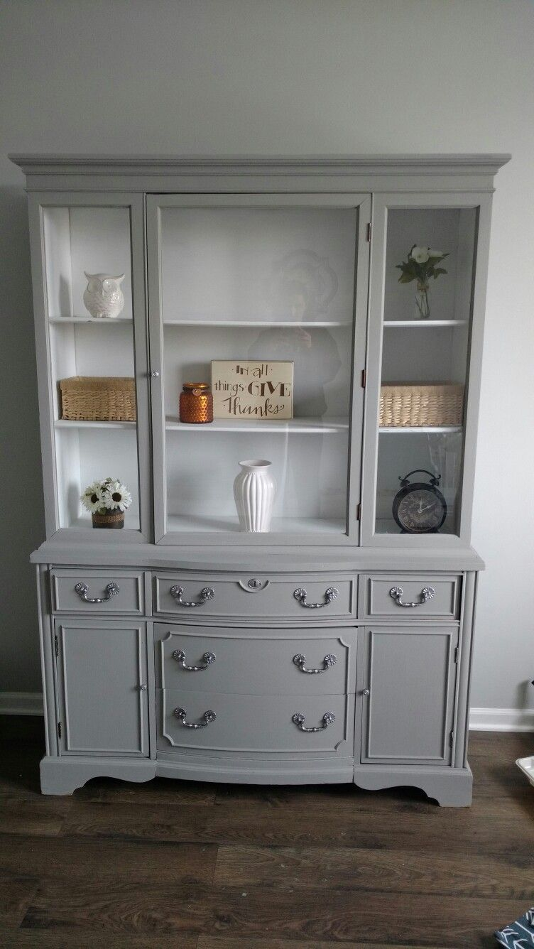 Painted Hutch Country Gray And Linen White Rustolium Chalked Paint