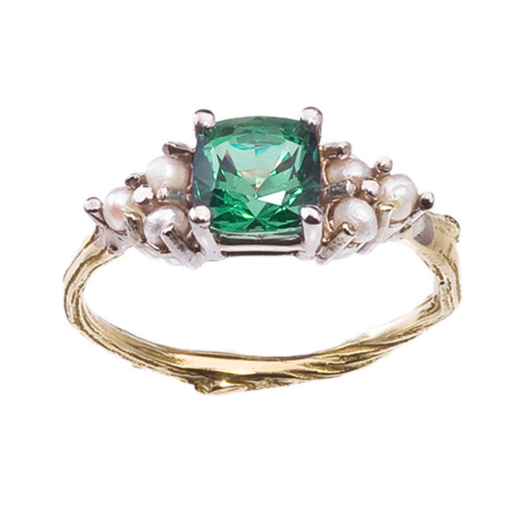 Green With Envy Pearl Ring Nature inspired Cushion cut and 18k gold