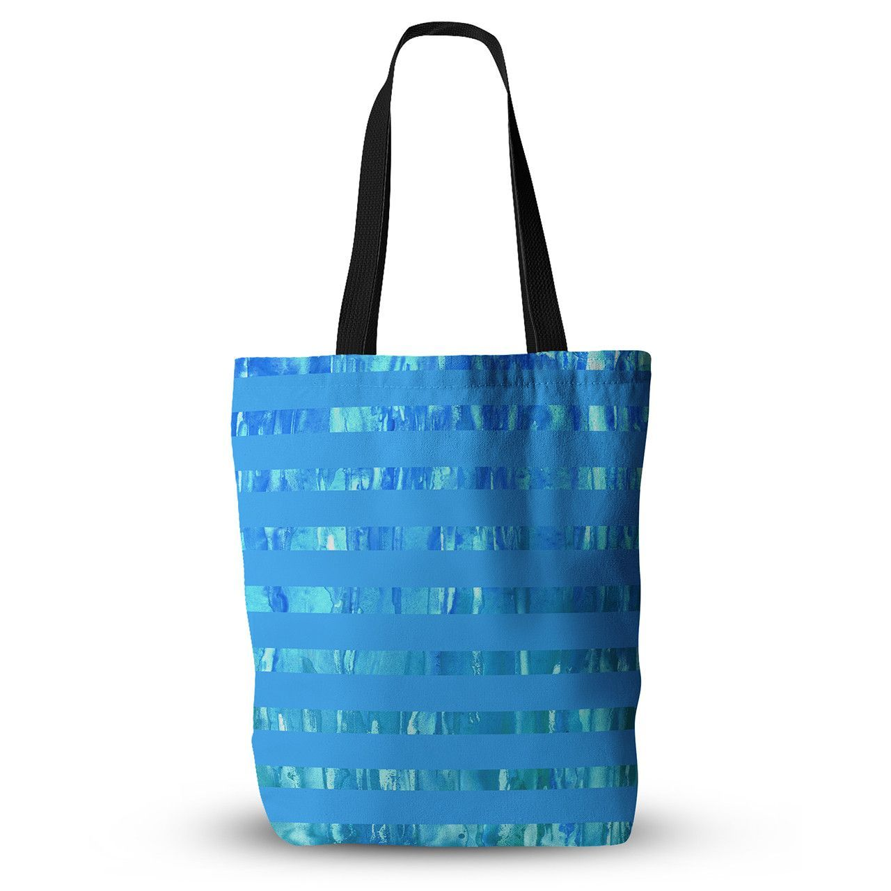 "Rosie Brown ""Wet Wild Stripes"" Aqua Blue Everything Tote Bag"