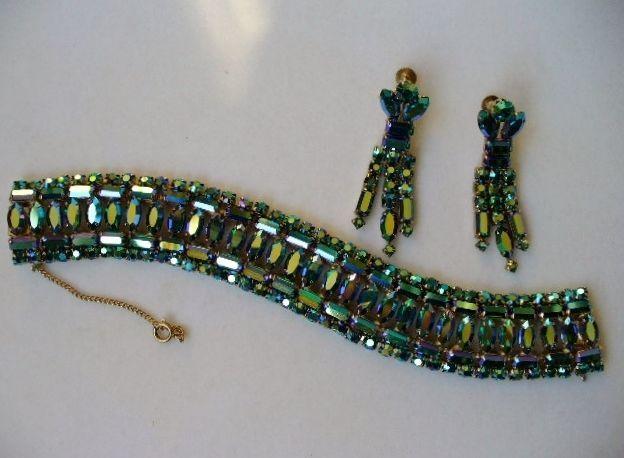 RARE Peacock Green Sherman Bracelet Earrings Set   eBay