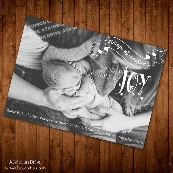"""Printable """"Tidings of Comfort and a Bundle of Joy"""" Winter Photo Birth Announcement or Holiday Card"""
