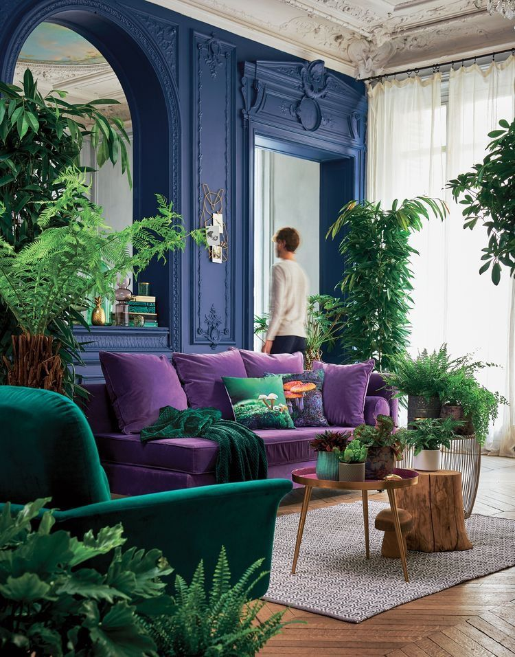 Fully Saturated Living Room Decorated With Jewel Tones In 2020 House Interior Living Room Decor Blue Living Room #purple #and #white #living #room #ideas