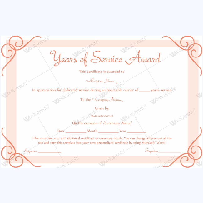 Years Of Service Award 10 Word Layouts Service Awards Awards Certificates Template Award Template