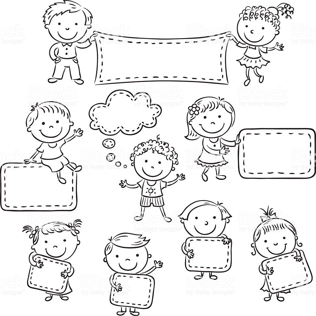 Bianco E Nero Belle Immagini Per: Little Cartoon Kids With Blank Signs, Black And White