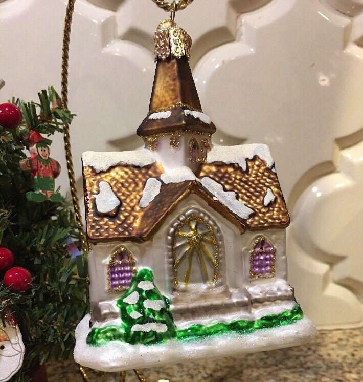 Old World Christmas Wedding Church Chapel Ornament Blown Glass