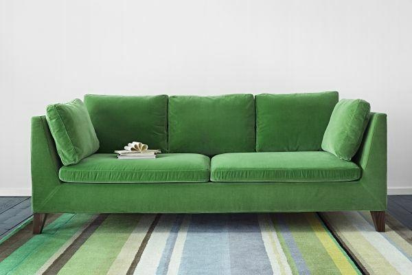 Grüne Sofas Teppich Streifen Bunt Ikea Sessel, Teppich Bunt, Wohnzimmer  Ideen, Streifen,
