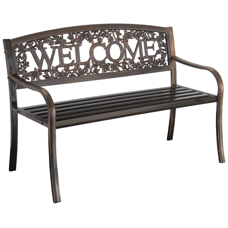 Outdoor Weather Resistant Metal Garden Bench With Welcome
