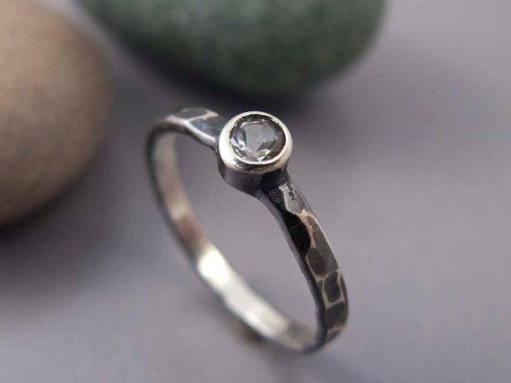 Facet Hammered Ring in Sterling Silver