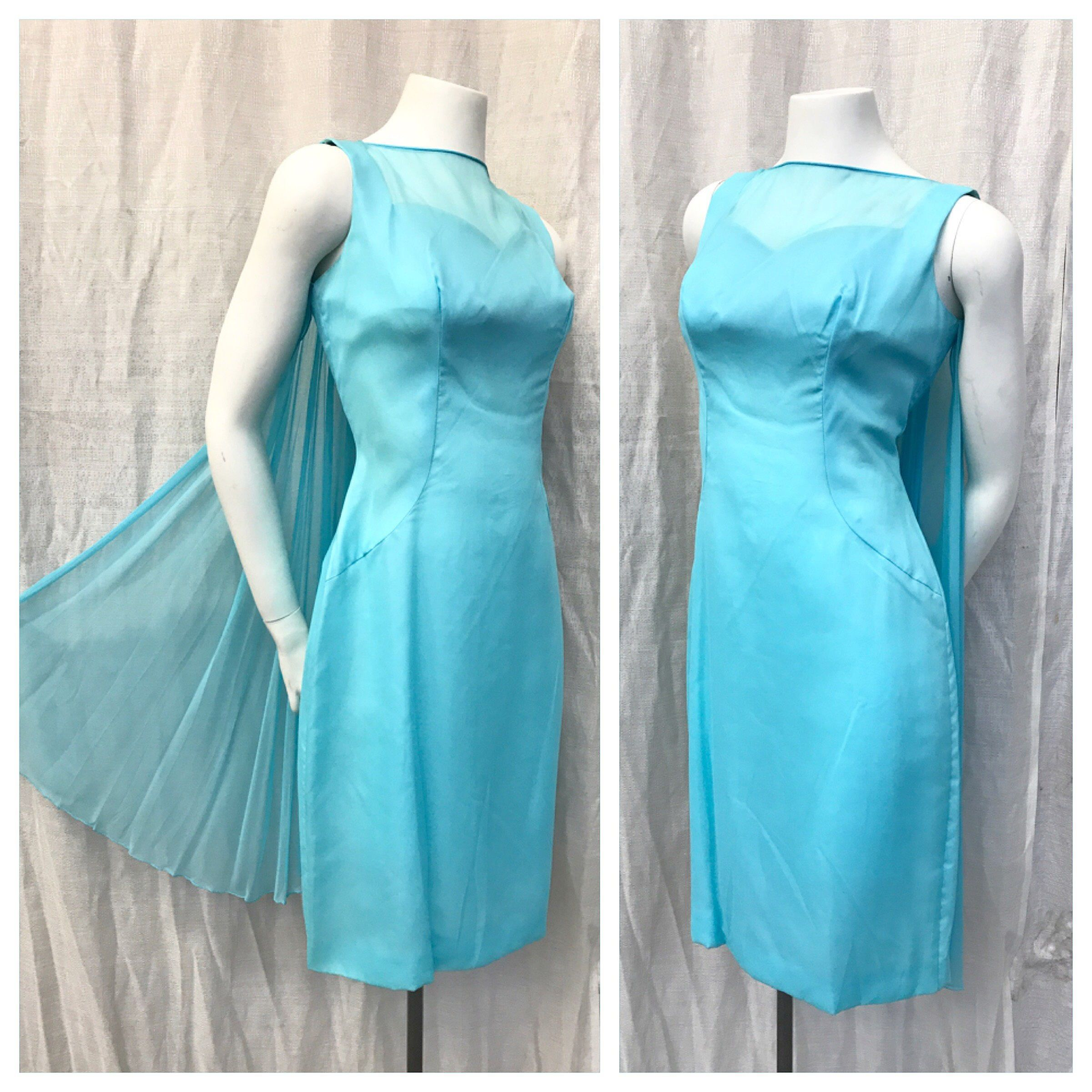 Ice Queen 1950 S 1960 S Vinage 50s 60s Holiday Turquoise Blue Silk Chiffon Cocktail Party Evening Dress W Double Back Train Sash Rosette M Dresses Vintage Dresses Silk Chiffon [ 2401 x 2401 Pixel ]