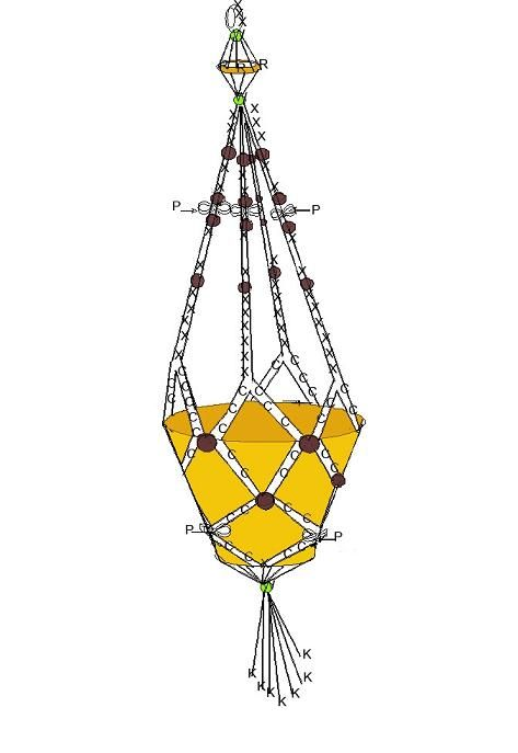 Macrame Plant Hanger With Beads Step By Step Instruction And Scheme